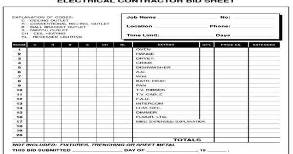 Electrical Contractor Bid Sheet Proposal Templates Estimate Template Quote Template