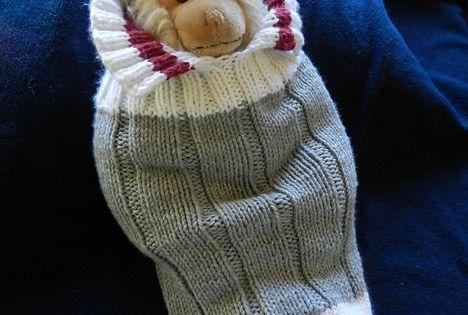 Sock Monkey Booties Knitting Pattern Free : Ravelry: Work Sock Baby (Monkey) Snuggler pattern free pattern Free Knittin...