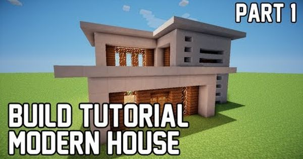 Minecraft build tutorial how to build modern house 1 for Modern house 5 keralis