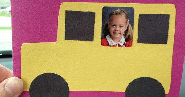"Have each in a car/bus with ""On the road to first grade"""