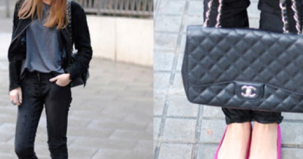 the classic Chanel bag... and pink shoes for a pop of fun