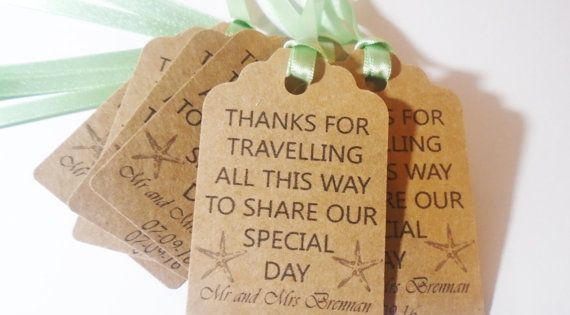 Thank You Gifts For Destination Wedding Guests : x10 Personalised favour/meal/destination wedding tags with hearts--any ...