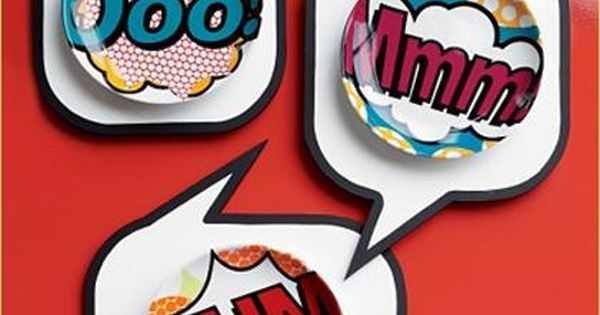 Funky dinnerware these pop art comic appetizer plates from cb2 are so much fun lithograph - Funky flatware sets ...