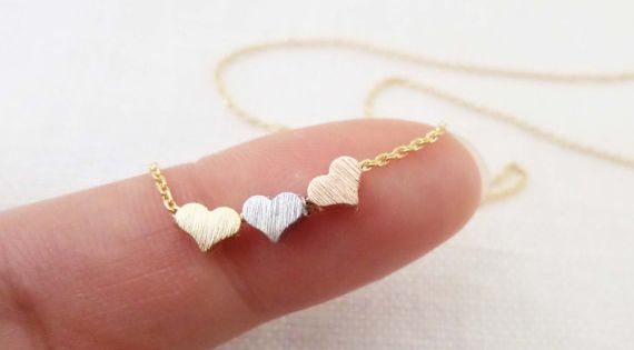 Tiny 3 hearts necklaces, gold, silver, and rose gold hearts on gold
