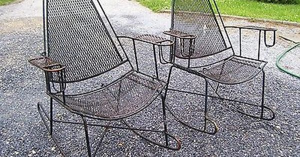 Vtg Mid Century Patio Wrought Iron Salterini Rocking Chairs Pair W Cup Holders Metal Rocking Chair Patio Rocking Chairs Rocking Chair