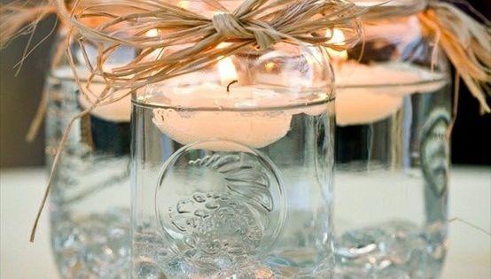 small mason jar candles center piece idea @Tamara Beasley @Sara Radke