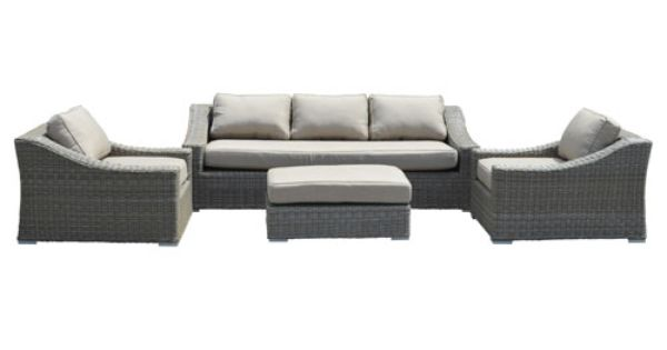 Deep Seating Design With A Low Back Sloping Arms And Curved Lines Half Round Woven All Weather Synth Sunbrella Fabric Cushions Deep Seating Sunbrella Fabric