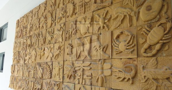 Wood carving relief sculpture insects birds