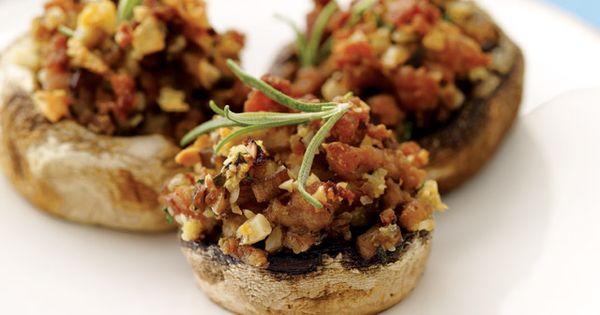 Hazelnut And Turkey-Sausage Stuffed Mushrooms Recipe — Dishmaps