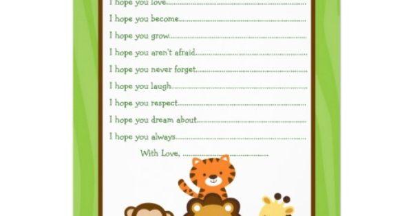 Safari Jungle Animal Wishes for Baby Card   Safari Jungle ...