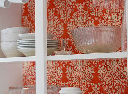 how to line the interiors of your kitchen cupboards with fabric and
