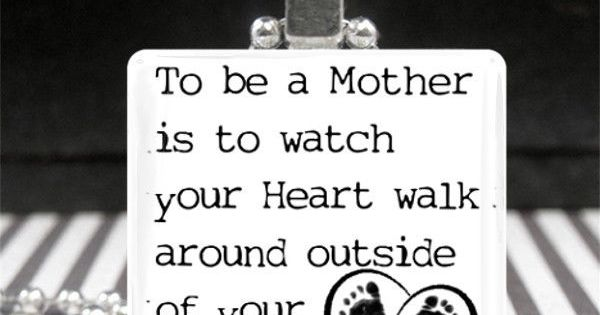 Mothers Day Jewelry Motherhood Quote Necklace New Mom Gift Baby Footprints Heart