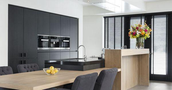Kastenwand in zwart fineer hout kitchen pinterest hout zwart en keuken - Onderwerp deco design keuken ...