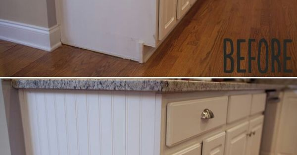 Add paneling to open cabinet sides for a quick and easy for Caulking kitchen cabinets