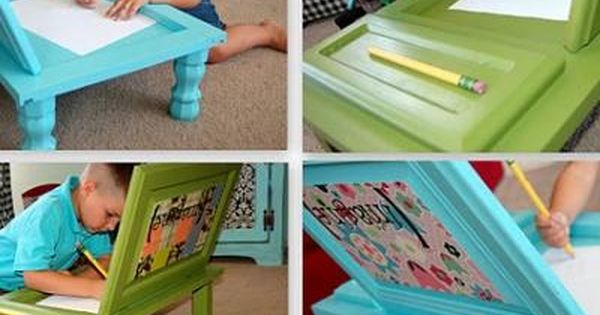 cupboard door art desk for kids... even cheaper when you pick up