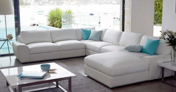Riva 6 seater modular leather lounge white leather - Harvey norman living room furniture ...