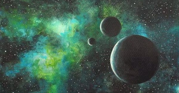 original painting art acrylic space green black moon galaxy acrylic painting. Black Bedroom Furniture Sets. Home Design Ideas
