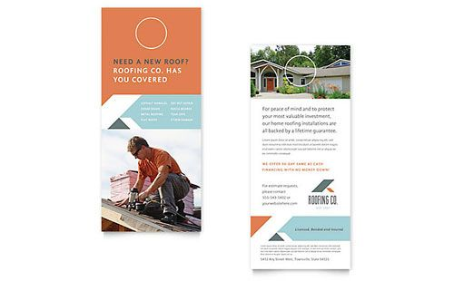 Roofing Company Rack Card Template Word Rack Cards Design Rack Card Templates Rack Card