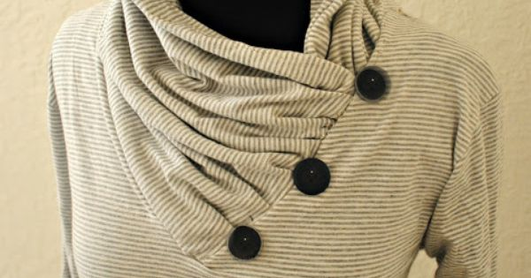 Very cute idea! Trash To Couture: DIY: V-neck into Gathered Cowl Collar