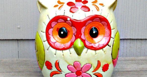 Vintage owl bank 1960 39 s paper mache by thevintagedresser for Diy paper mache owl