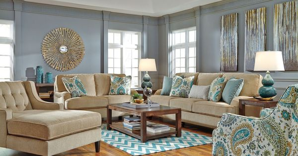 Lochian Bisque Sofa Coastal Living Rooms Love Seat And Turquoise