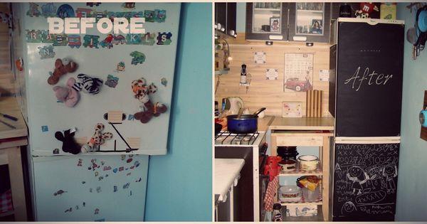 De koelkast werd te vol met al die stickers het verwijderen van de stickers was het ergste werk - Kwekerij verf ...