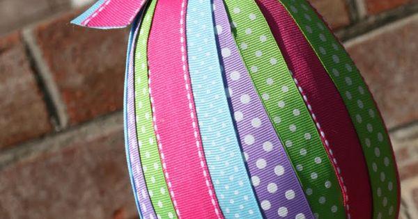 Easter egg topiary tutorial - paper maché/styrofoam ribbon egg deco