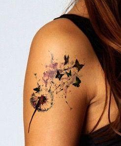Dandelion Watercolor Tattoo Dandelion Tattoo Butterfly Tattoo