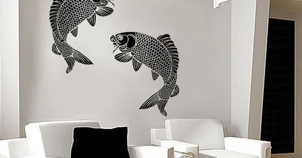 Stencil large japanese koi fish stencil for walls for Koi fish bathroom decorations