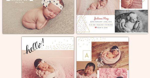 Sweet Birth announcements | Photoshop templates for photographers by Birdesign