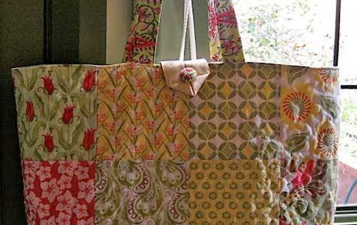 this roomy patchwork tote bag is easy to make using a