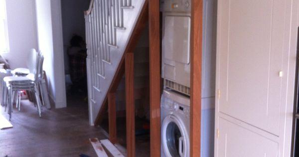 Washing Machine Under Stairs Lake House Remodel