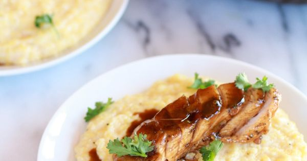 Balsamic Orange Glazed Chicken with Creamy Polenta