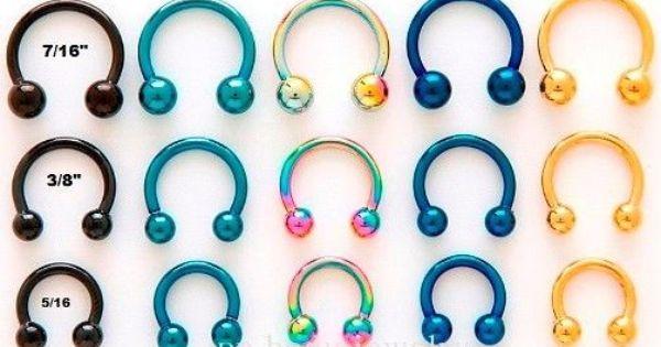 "2pc.14G~5//16/"" 1//2/"" Anodized 316L Captive Bead Ring Ears Cartilage Labret Septum"