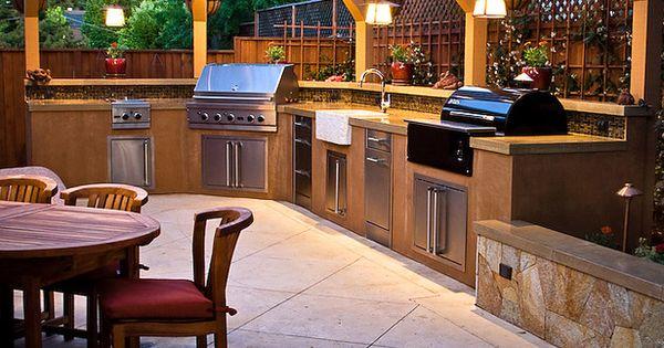 Cool Backyard Backyards Pinterest Outdoor Kitchens