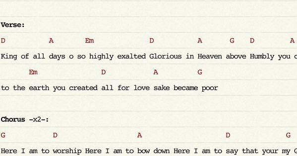here i am to worship chords pdf e