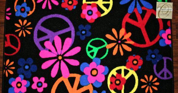 2x3 peace signs flowers black colors kids mat mats rug for Garden room 2x3