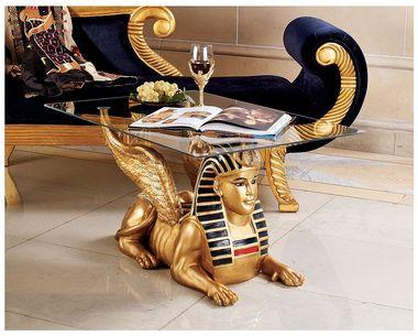 Golden Egyptian Sphinx Glass Topped Sculptural Table Egyptian Furniture Egyptian Home Decor Egyptian Design