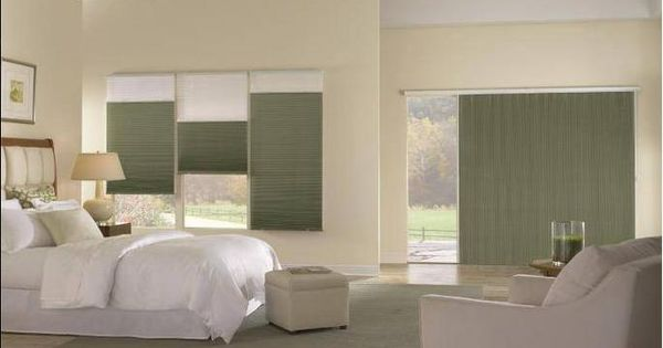 Cellular Shades On A Sliding Glass Door Combined With Two