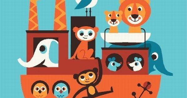 #Poster by Ingela poster Ark van Noah 50x70 from www.kidsdinge.com www.facebook.com/pages/kidsdingecom-Origineel-speelgoed-hebbedingen-voor-hippe-kids/160122710686387?sk=wall http://instagram.com/kidsdinge
