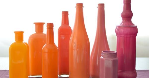 Painted bottles DIY Paint Bottles Ombre Orange Thrift FleaMarket Style