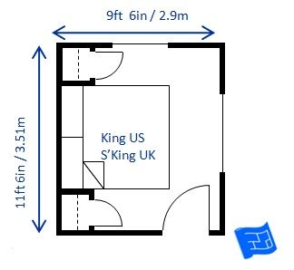 The Minimum Bedroom Size For A King Bed Super King Uk Is 9ft 6in X 11ft 6in 2 9 X 3 51m Small Bedroom Layout Bedroom Size King Size Bed In Small Room