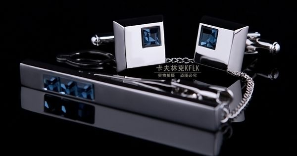 Blue Crystal Inlay Cufflinks And Tie Clip Set | See more about Tie Clips, Blue Crystals and Cufflinks.