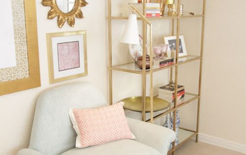 Color scheme for a girls room. How cute are these gold shelves.