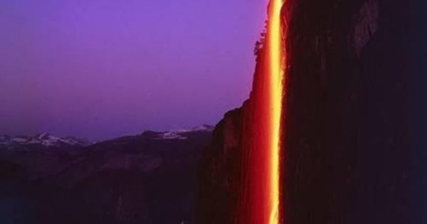 """Fire"" waterfall in Yosmite National Park, California - created by the reflection"