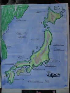 Map of Japan - geography and art. Doing this week at home ...