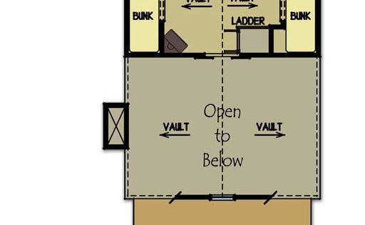 Small cabin plan with loft cabin floor plans fish camp for Fish camp house plans