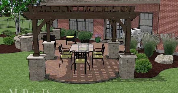 Concrete Paver Patio Design With Pergola And Seat Wall | 495 Sq Ft |  Download Installation Plan, How Tou0027s And Material List @Mypatiodesign.com |  Pinterest ...