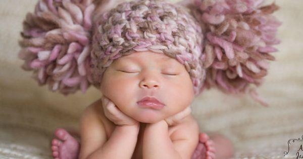 Baby Girl Hat Pom Pom Beanie Hat Infant Hat Crochet Baby Hat