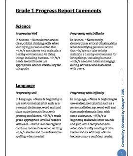 Report Card Comments Grade 1 Progress Report Ontario Report Card Comments Progress Report Report Card